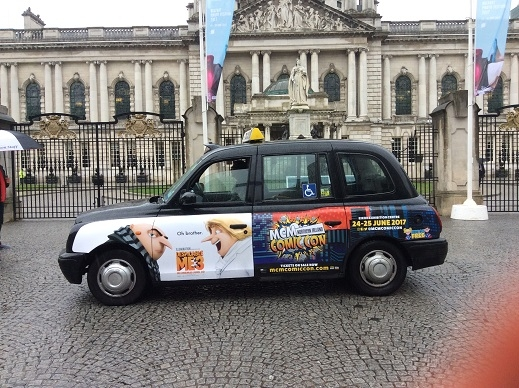 Black cab taxis help to promote Comic Con Northern Ireland